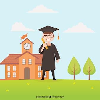 Fond de garçon diplômé