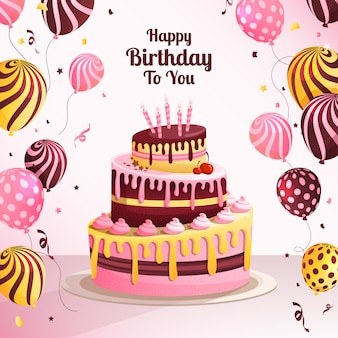 Fond De Gâteau D'anniversaire Avec Des Ballons Vecteur Premium