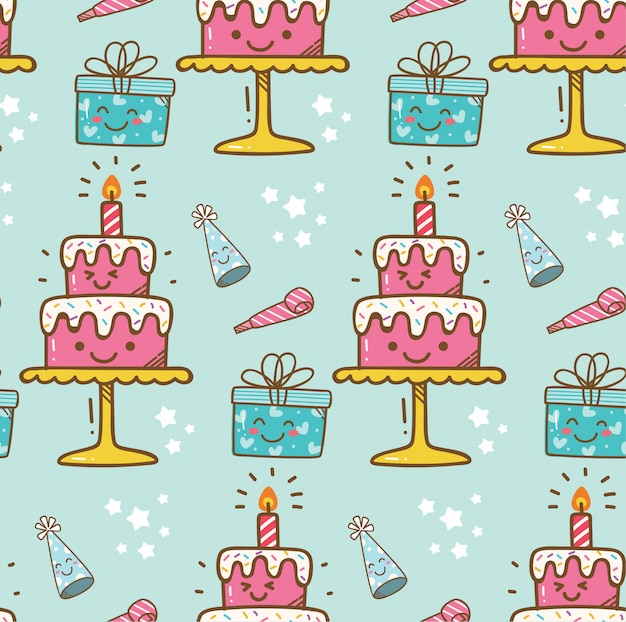 Fond de gâteau d'anniversaire kawaii