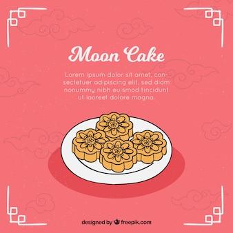 Fond de gâteau de lune dans le style dessiné à la main