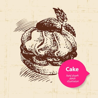 Fond de gâteau sucré vintage avec bulle de couleur. illustration dessinée à la main