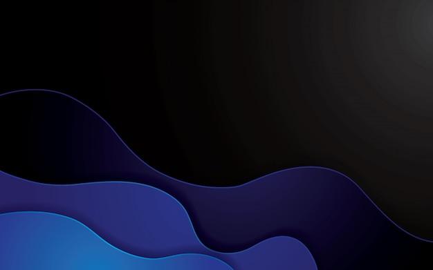 Fond géométrique abstrait bleu papercut. papercut de décoration avec des couches ondulées.