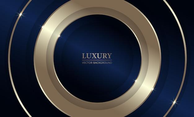 Fond géométrique abstrait de luxe bleu foncé et or d avec des cercles