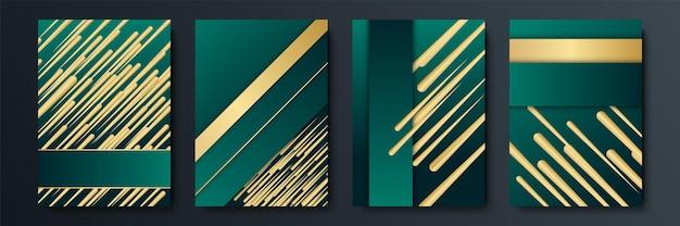 Fond géométrique abstrait moderne simple vert foncé et paillettes d'or avec concept de rayures 3d. fond vert foncé et or abstrait de luxe ondulé. élément de conception graphique.