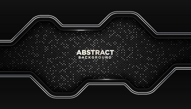 Fond géométrique abstrait noir avec décoration d'élément de points de paillettes