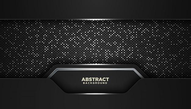 Fond géométrique abstrait noir avec des points de paillettes