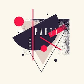Fond géométrique abstrait rétro. affiche de fête avec les figures plates. illustration vectorielle.