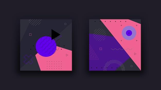 Fond géométrique abstrait sombre. memphis design stylisé les tendances vintage des années 80. contexte minimaliste.