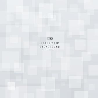 Fond géométrique abstrait de technologie avec l'espace de copie modèle de couleur blanc et gris carré