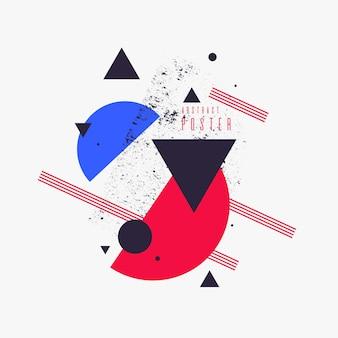 Fond géométrique d'art abstrait moderne avec une affiche vectorielle de style minimaliste plat