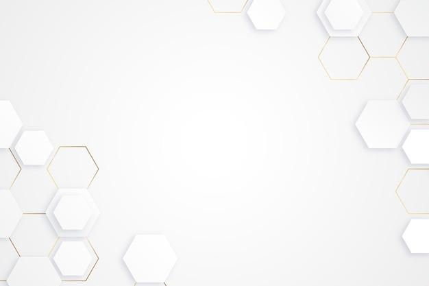 Fond géométrique blanc et doré réaliste