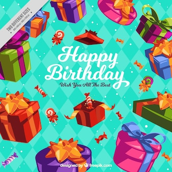 Fond géométrique avec des cadeaux colorés d'anniversaire
