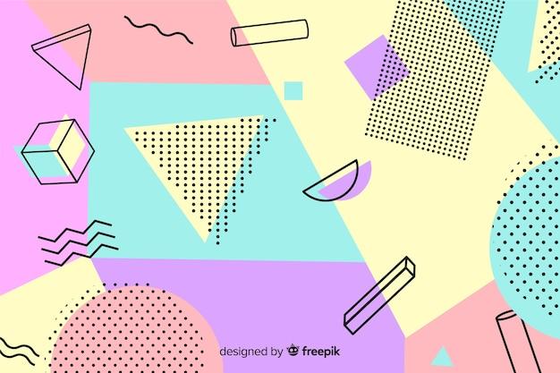 Fond géométrique coloré des années 80
