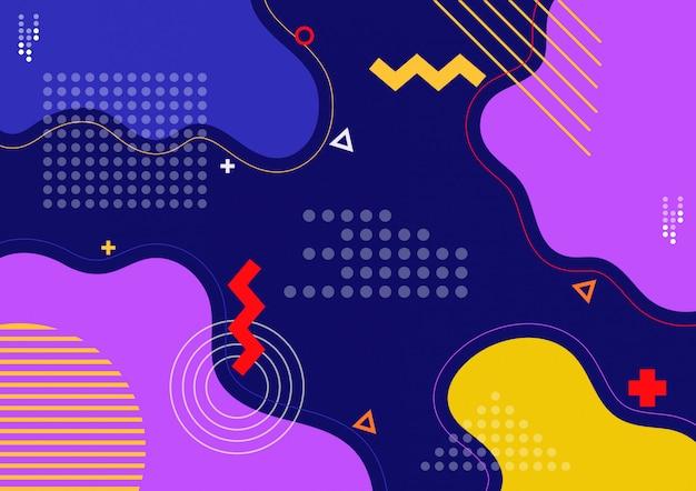 Fond géométrique coloré avec composition de formes fluides