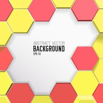 Fond géométrique coloré avec hexagones jaunes et rouges