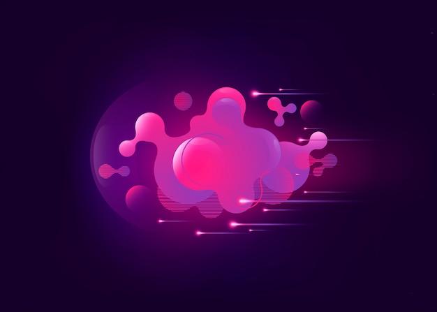 Fond géométrique de couleur rose liquide avec elemen dégradé fluide abstrait