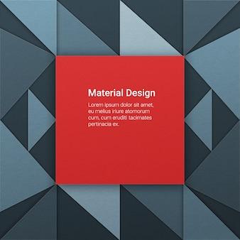Fond géométrique dans le style de conception matérielle avec des morceaux de papier à différentes élévations. carré rouge agressif