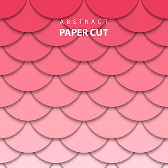 Fond géométrique avec du papier rouge et rose coupé