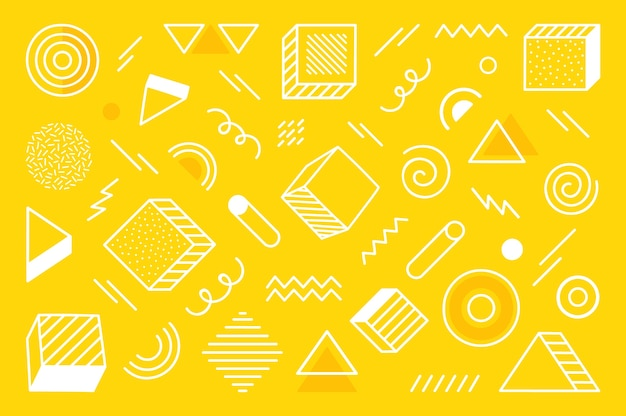 Fond géométrique avec forme abstraite différente dessinée à la main. formes géométriques de demi-teintes tendance universelles. illustration moderne.