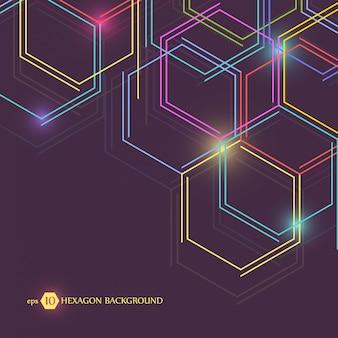 Fond géométrique hexagonal. connexion avec les lignes et le réseau social.