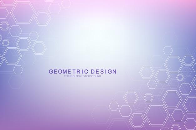 Fond géométrique hexagonal. réseau génétique et social des hexagones.