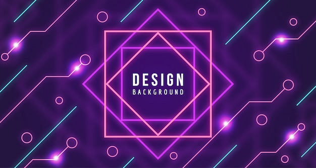 Fond géométrique néon tech