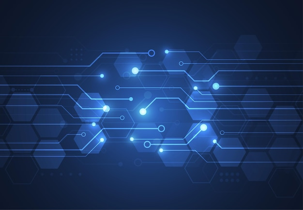 Fond géométrique de technologie abstraite avec texture de carte de circuit imprimé.