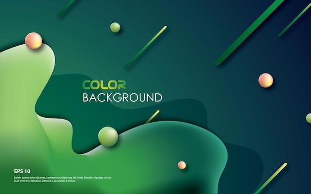 Fond géométrique vert avec composition fluide à la mode