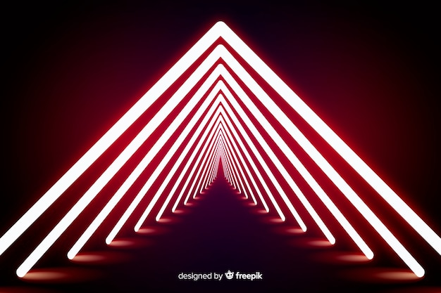 Fond géométrique de voûte de lumière rouge
