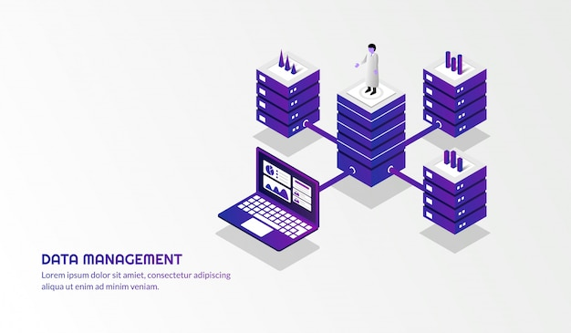 Fond de gestion de données isométrique