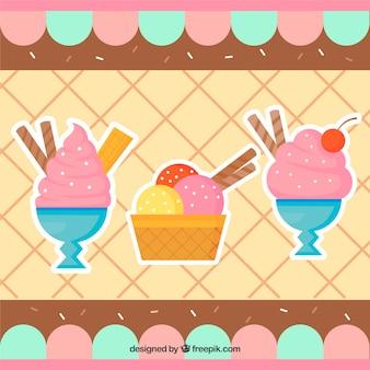 Fond glacé et desserts au design plat