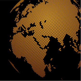 Fond de globe doré en pointillé