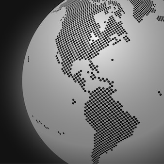 Fond de globe monochrome en pointillé