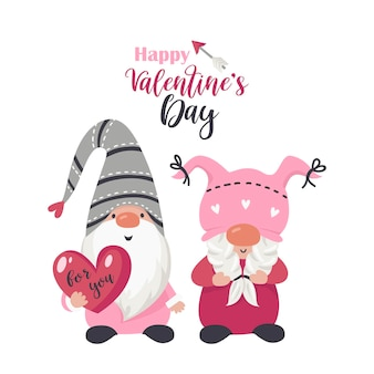 Fond avec des gnomes d'amour avec coeur pour la saint-valentin. illustration pour cartes de voeux, invitations de noël et t-shirts