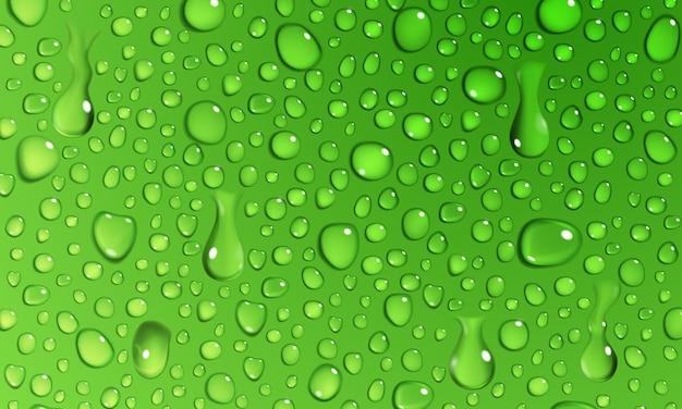 Fond de gouttelettes d'eau à la surface dans des couleurs vertes