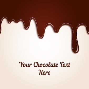 Fond de gouttes de chocolat au lait brun riche fondu