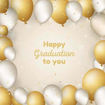 Fond de graduation heureux avec des ballons
