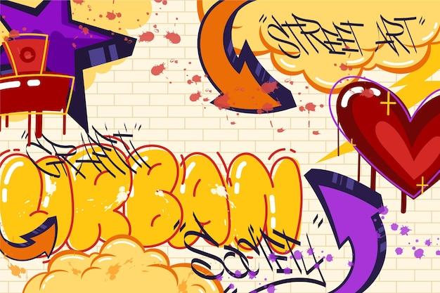 Fond de graffiti créatif design plat