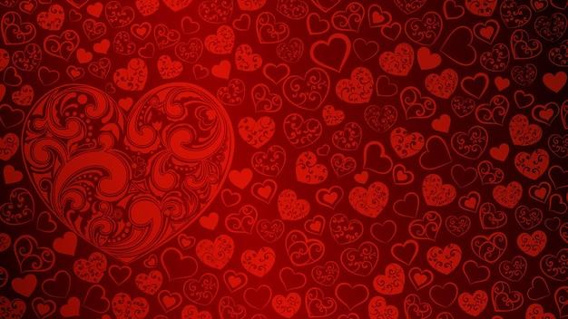 Fond de grands et petits coeurs avec des tourbillons de couleurs rouges