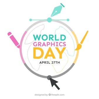 Fond de graphique jour mondiale avec des outils