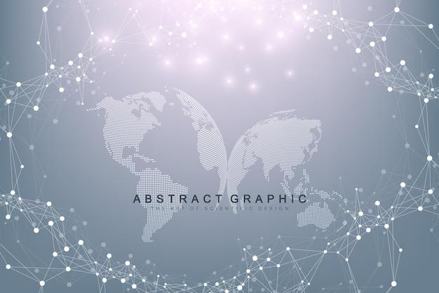 Fond Graphique Virtuel Avec Des Globes Du Monde. Connexion Réseau Mondiale. Visualisation Des Données Numériques. Connexion Deux Hémisphères De La Planète Terre. Illustration Vectorielle. Vecteur Premium