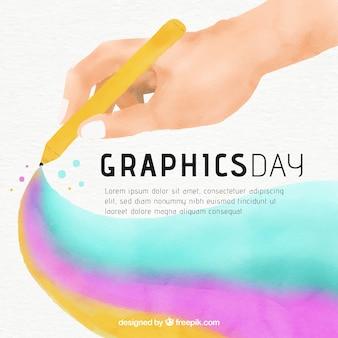 Fond de graphiques jour mondiale avec main tenant un crayon dans un style aquarelle