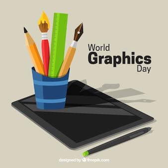 Fond de graphiques jour mondiale avec tablette
