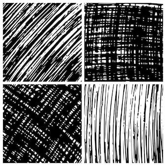 Fond de gribouillis dessiné à la main. ensemble de quatre arrière-plans abstraits de doodle monochrome. illustration vectorielle