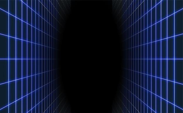 Fond de grille laser bleu abstrait. rétro futuriste.