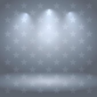 Fond gris studio avec des étoiles et des lumières