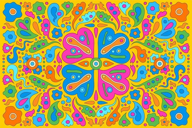 Fond groovy psychédélique multicolore dessiné à la main