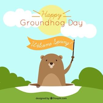 Fond groundhog avec un ruban