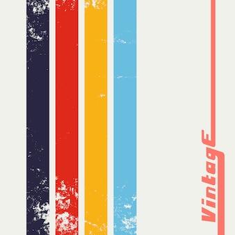 Fond grunge vintage avec des rayures de couleur