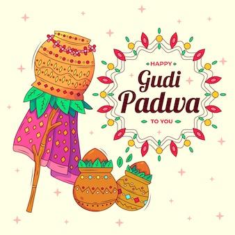 Fond de gudi padwa dessiné à la main